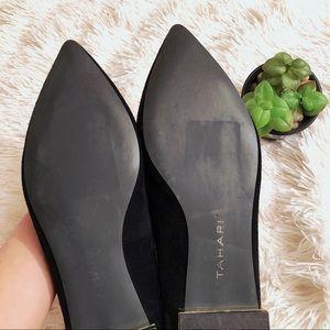 1d68e015cad Tahari Eda Black Pointed Toe Suede Flats Gold Heel